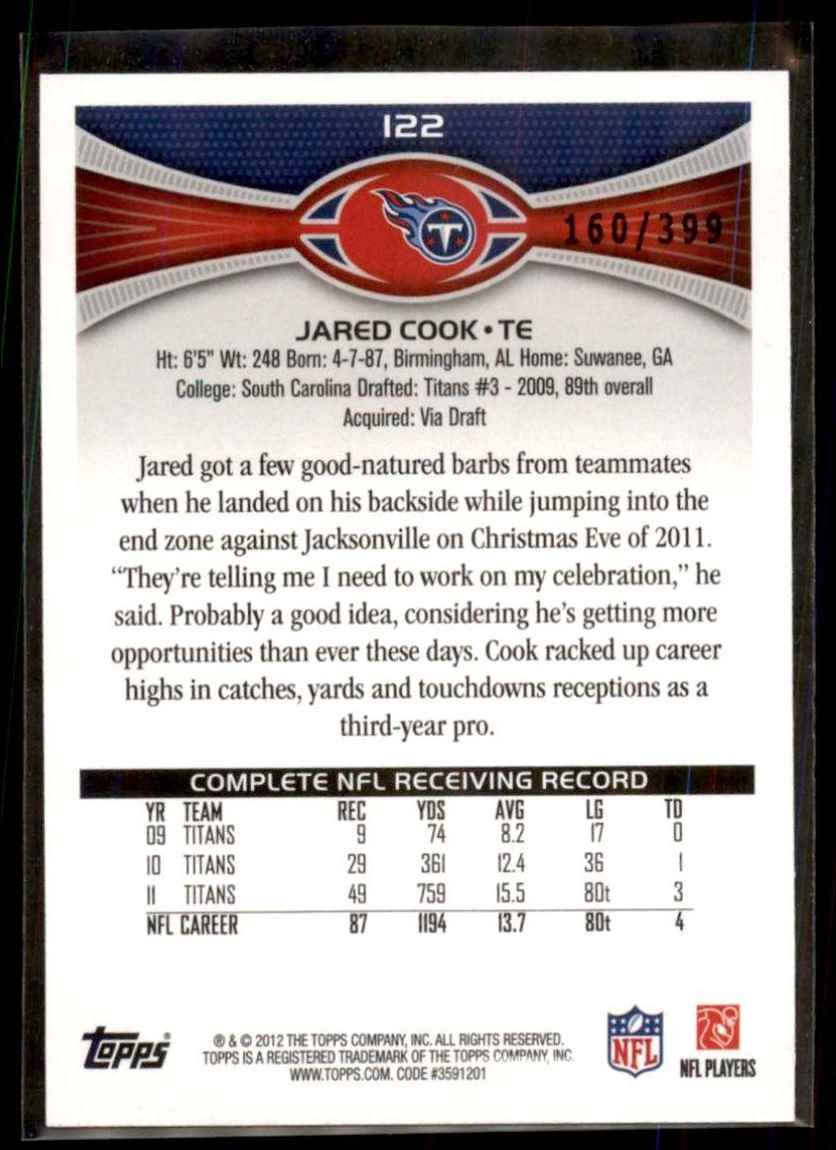 2012 Topps Pink Jared Cook #122 card back image