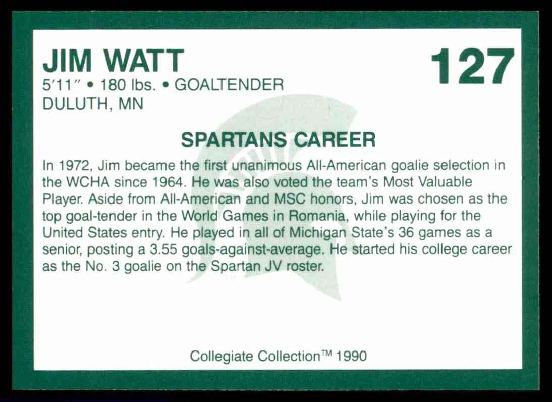 1990-91 Michigan State Collegiate Collection 200 Jim Watt #127 card back image
