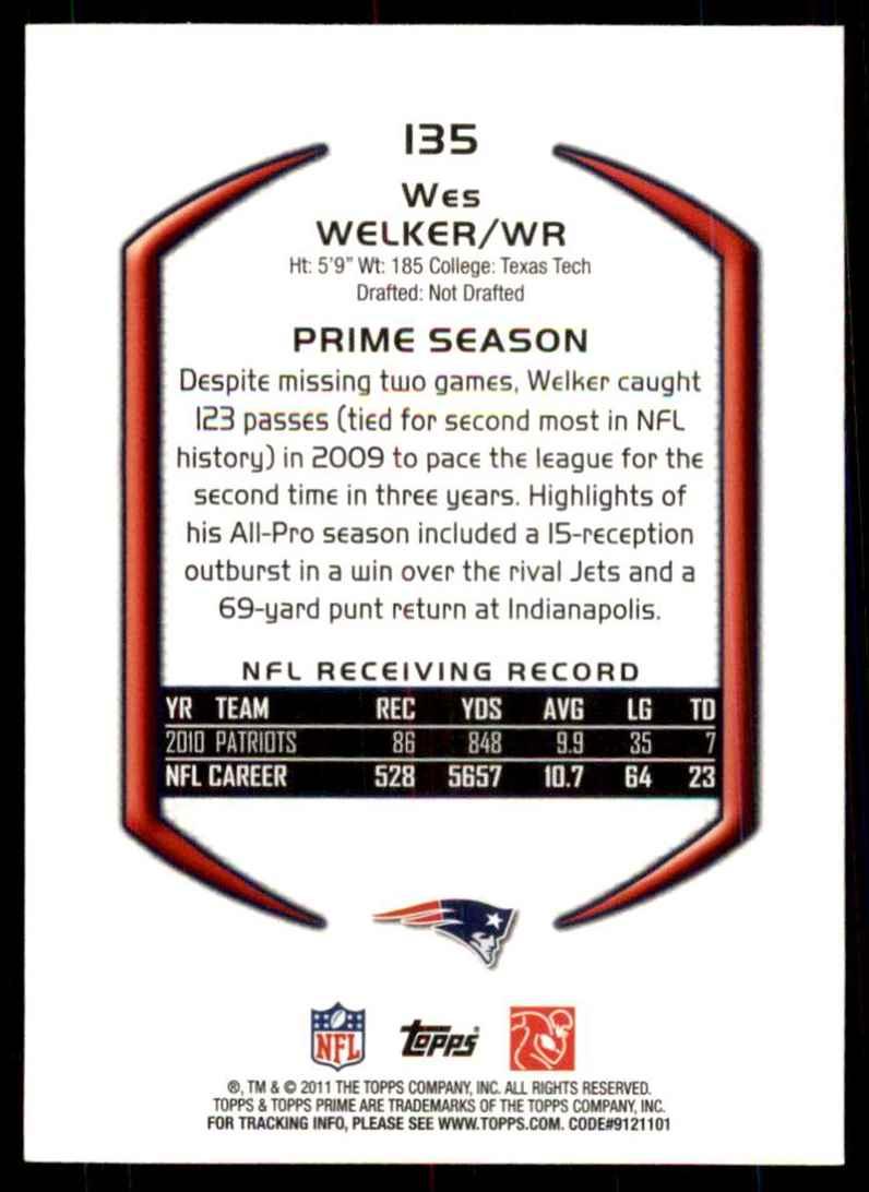 2011 Topps Prime Blue Wes Welker #135 card back image