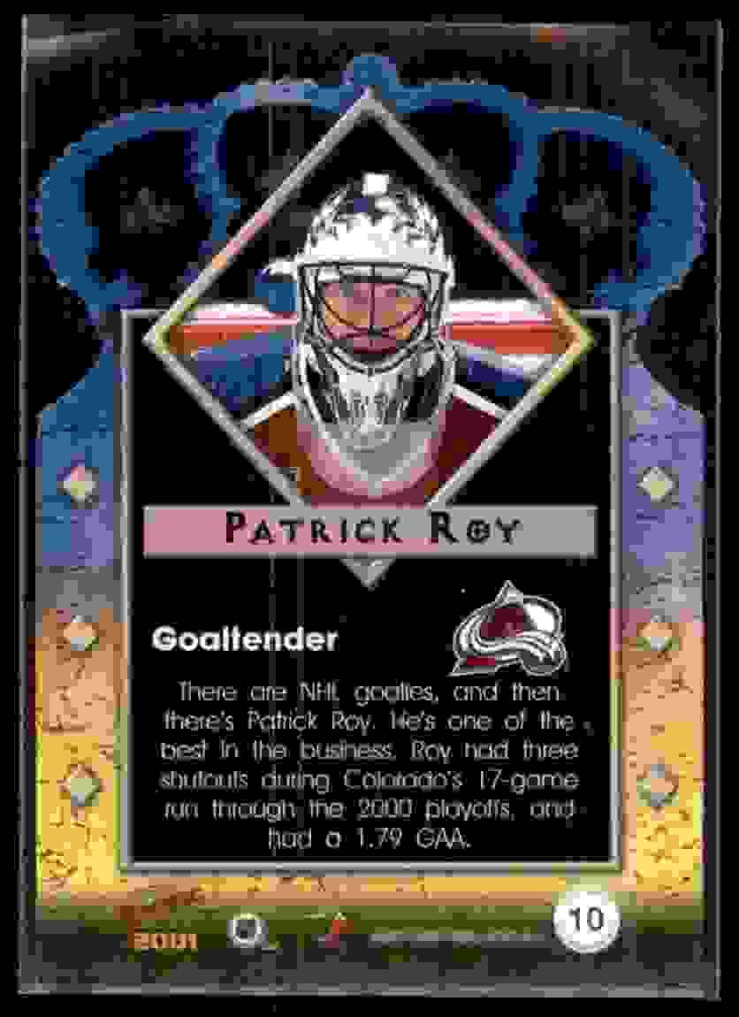 2000-01 Pacific Gold Crown Die-Cuts Patrick Roy #10 card back image
