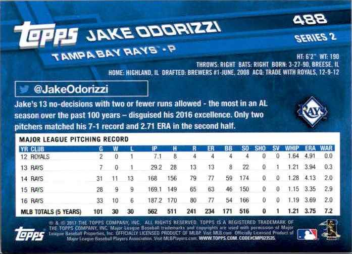 2017 Topps Series 2 Jake Odorizzi #488 card back image