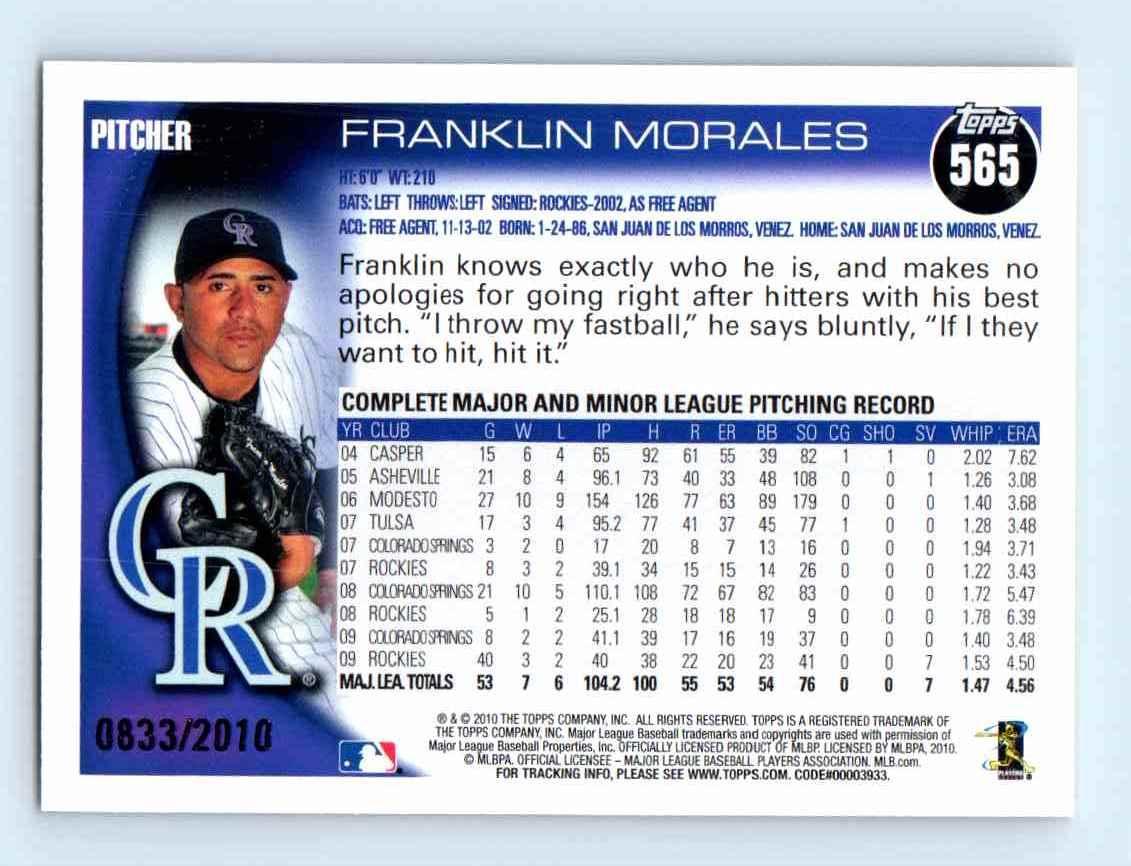 2010 Topps Gold Border Franklin Morales #565 card back image