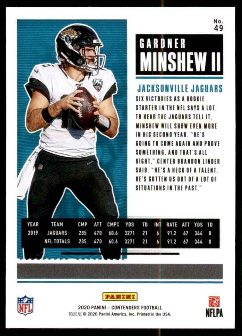 2020 Panini Contenders Gardner Minshew II #49 card back image