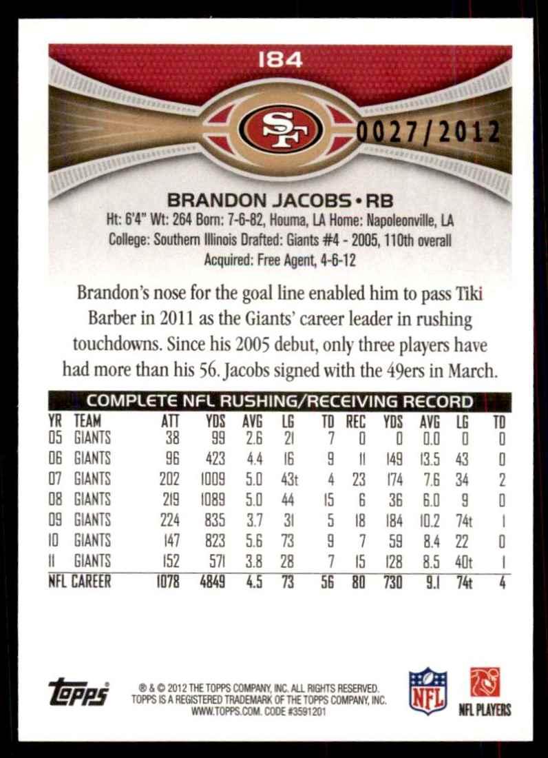 2012 Topps Gold Brandon Jacobs #184 card back image
