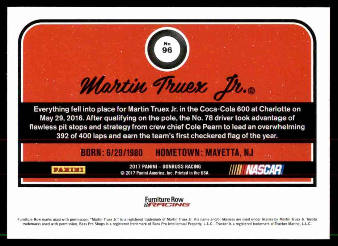 2017 Donruss Martin Truex #96 card back image