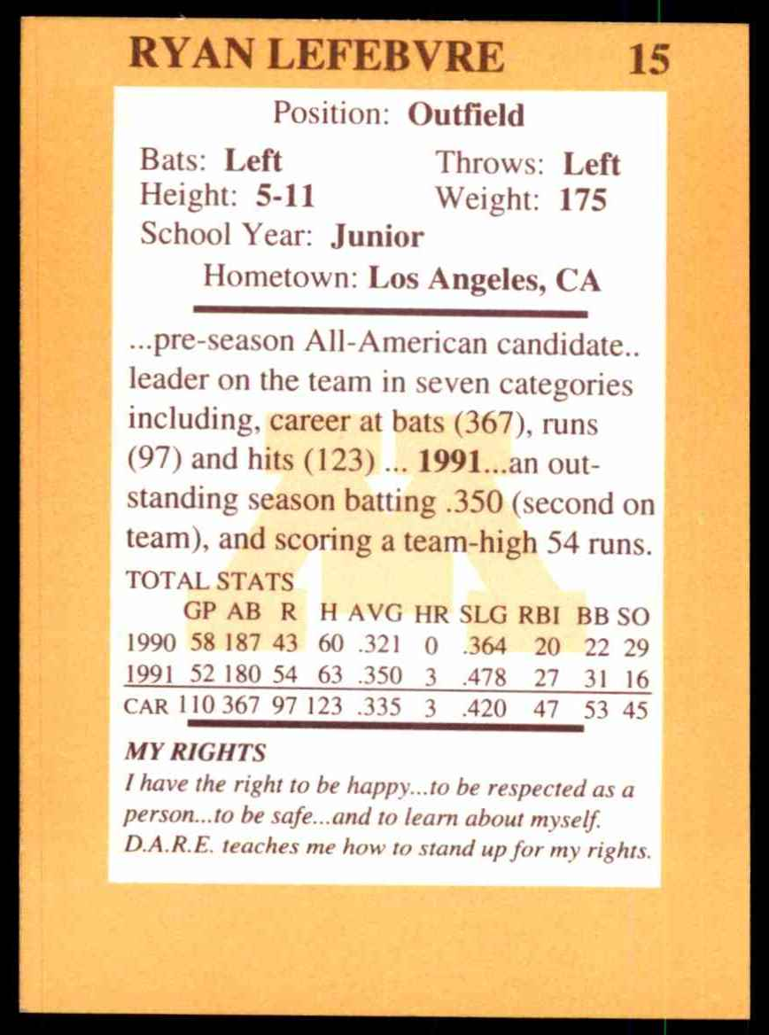 1992 Quaker Oats Minnesota Golden Gophers Ryan Lefebvre #15 card back image