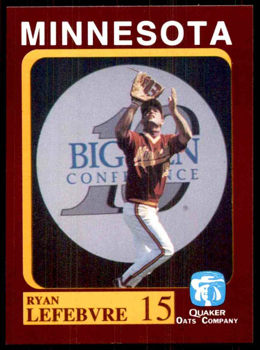 1992 Quaker Oats Minnesota Golden Gophers Ryan Lefebvre #15 card front image