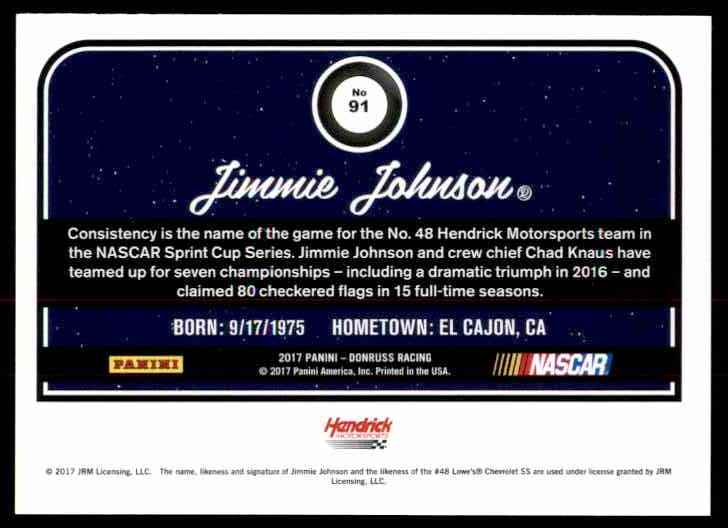 2017 Donruss Jimmie Johnson #91 card back image