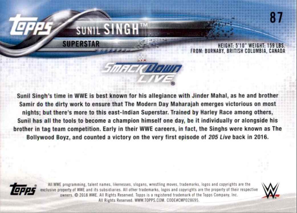 2018 Topps Wwe Sunil Singh #87 card back image
