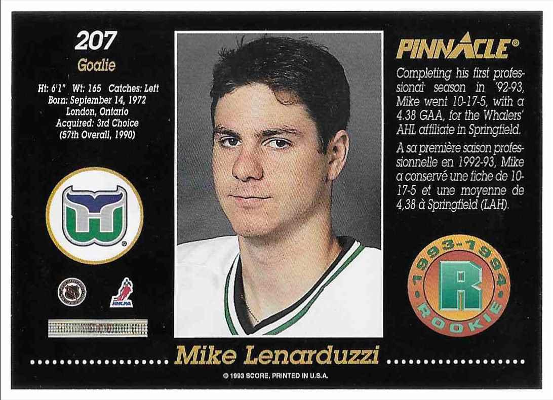 1993-94 Pinnacle Rookie Mike Lenarduzzi #207 card back image