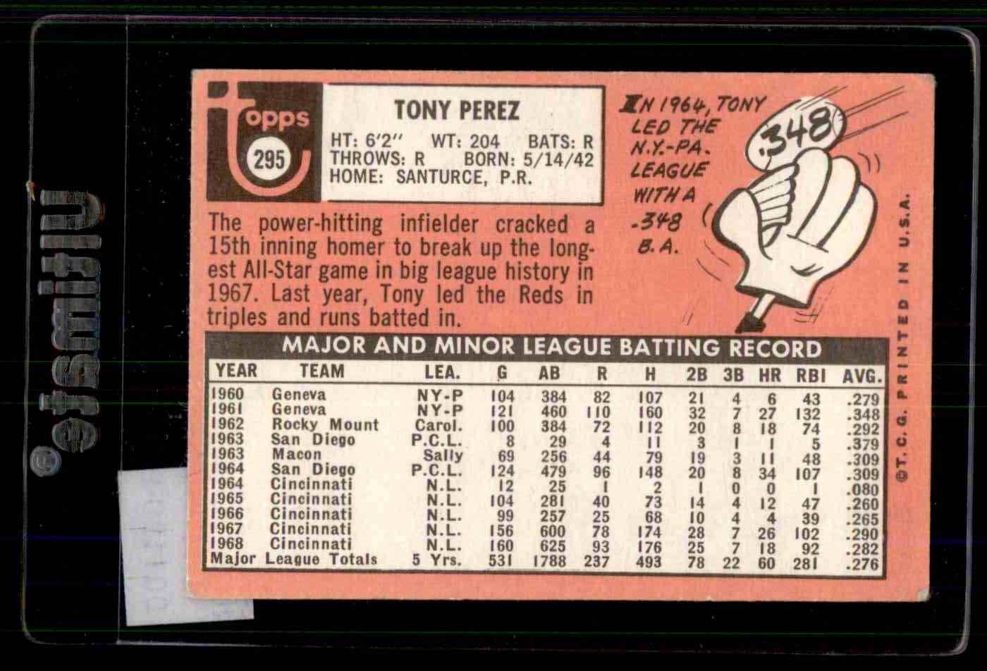 1969 Topps Tony Perez #295 card back image