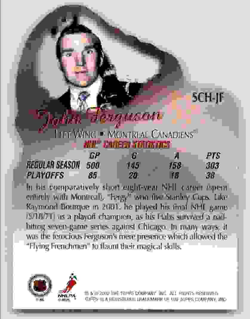 2002-03 Topps Stanley Cup Heroes John Ferguson #SCH-JF card back image