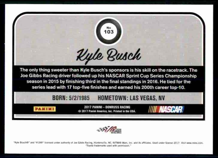 2017 Donruss Kyle Busch #103 card back image