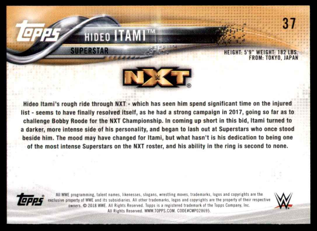2018 Topps Wwe Hideo Itami #37 card back image
