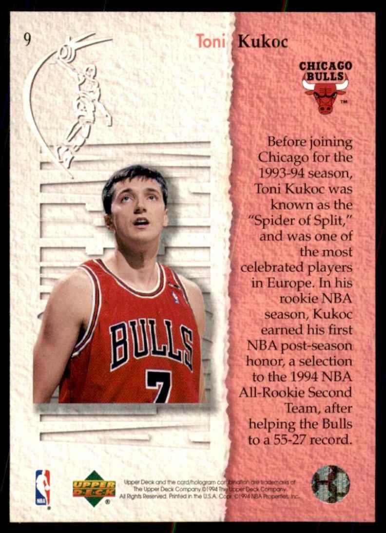 1994-95 Upper Deck Toni Kukoc Art #9 card back image