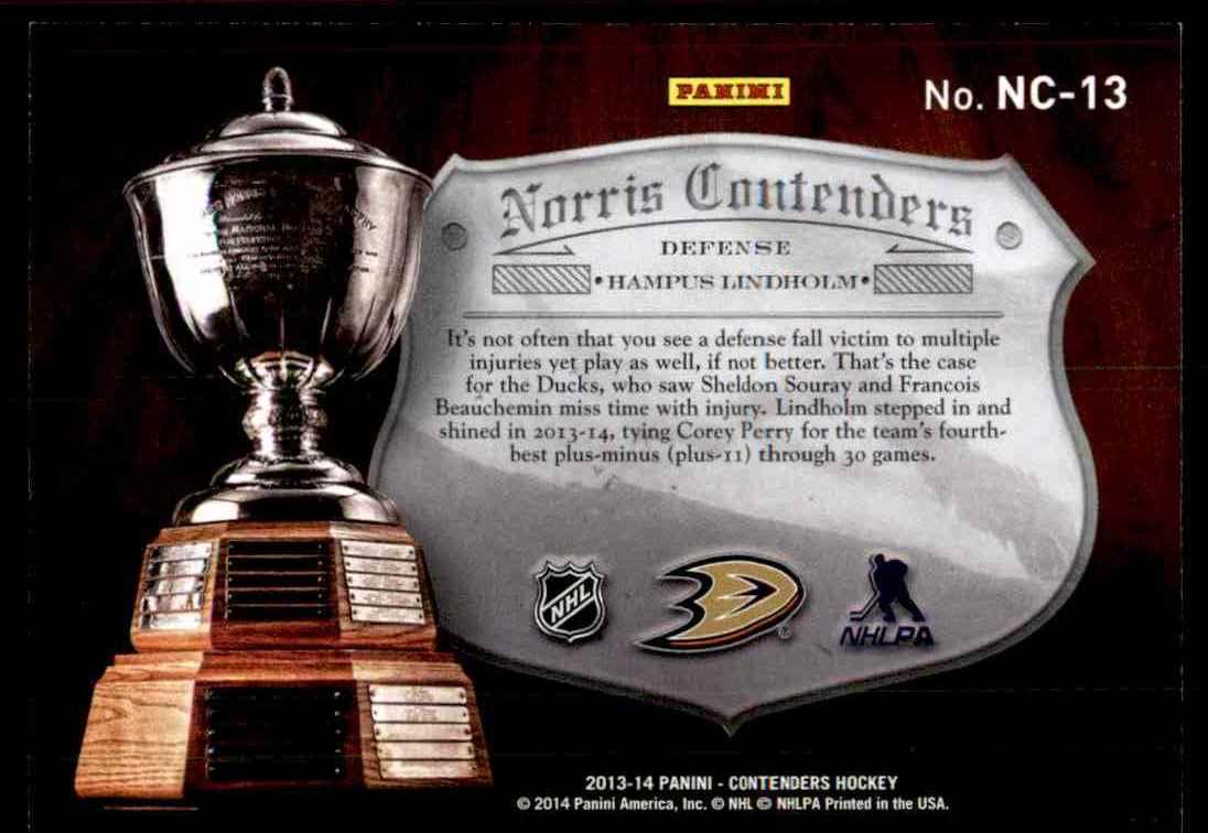 2013-14 Panini Norris Contenders Hampus Lindholm #NC-13 card back image