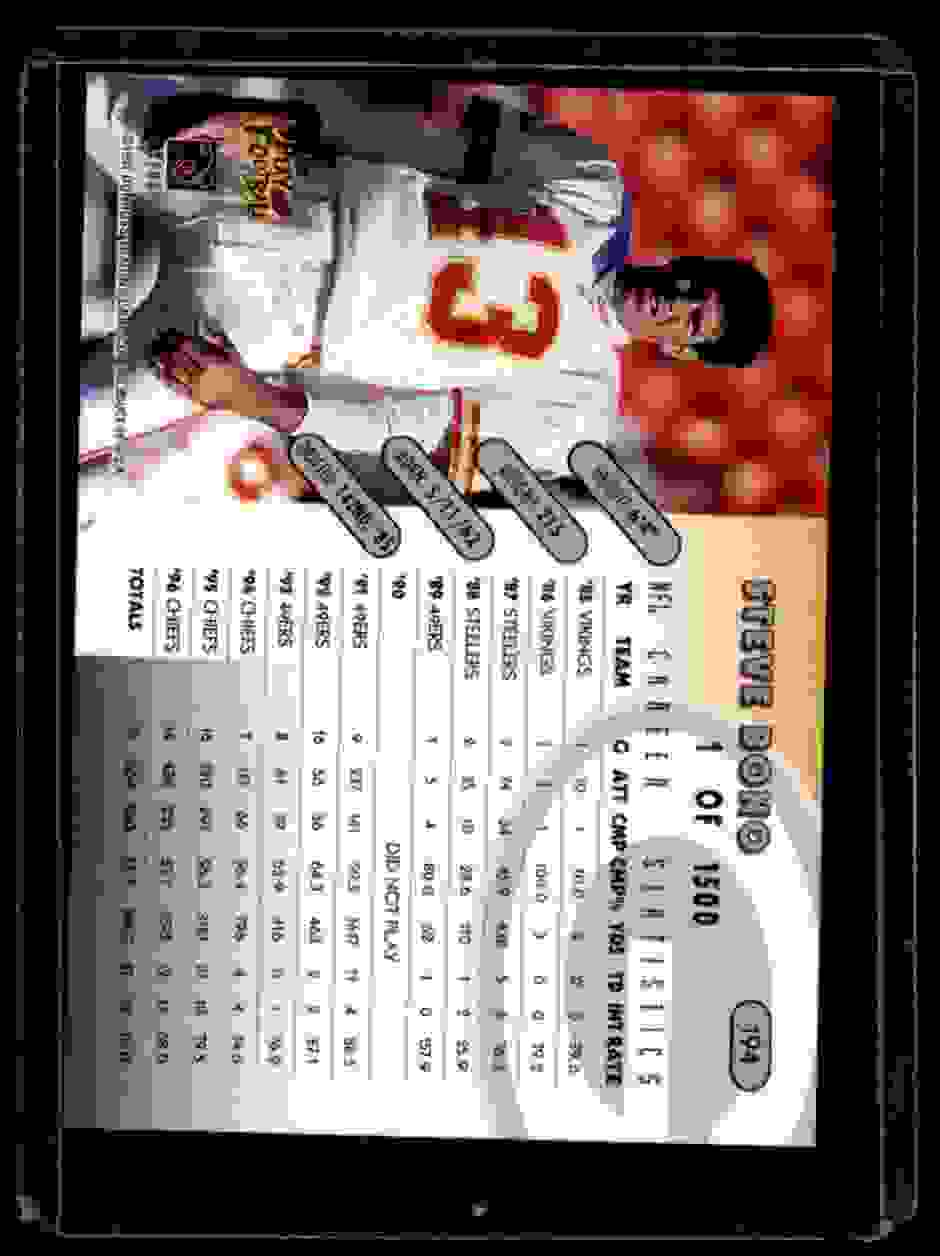 1997 Donruss Silver Press Proofs Steve Bono #194 card back image