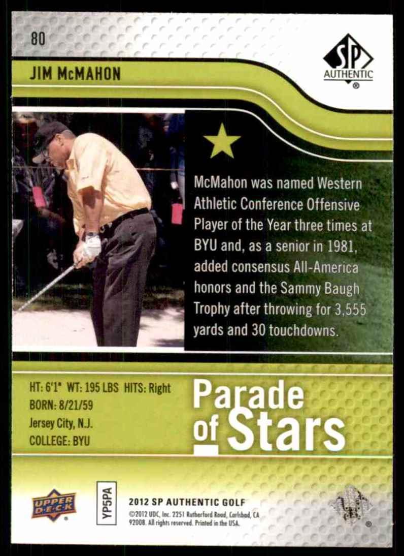 2012 SP Authentic Jim McMahon Ps #80 card back image