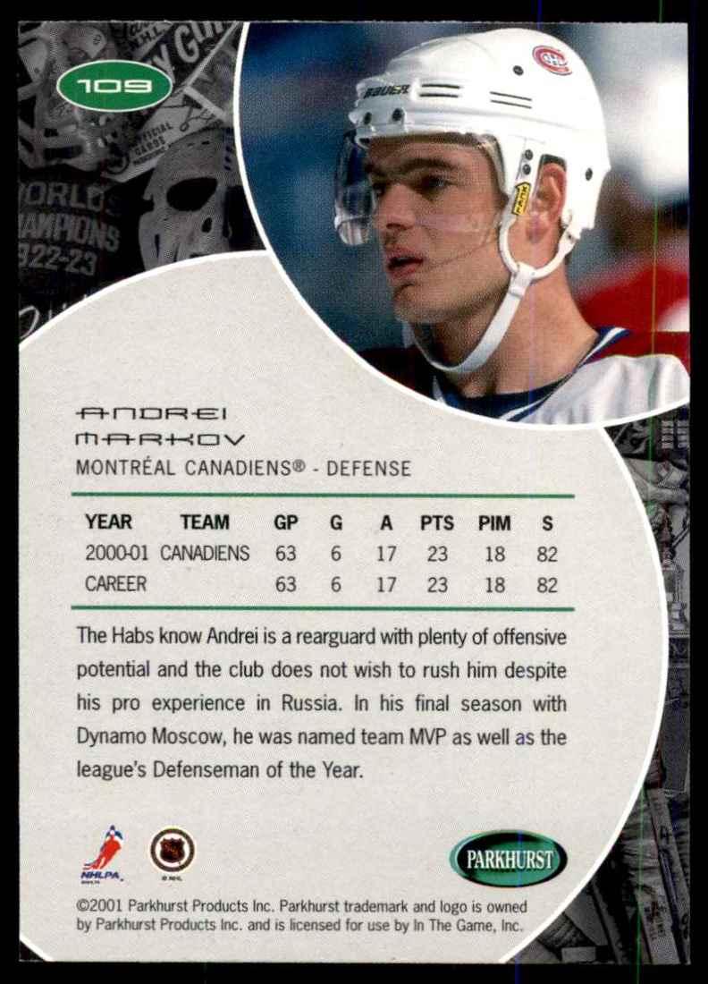 2001-02 Parkhurst Andrei Markov #109 card back image