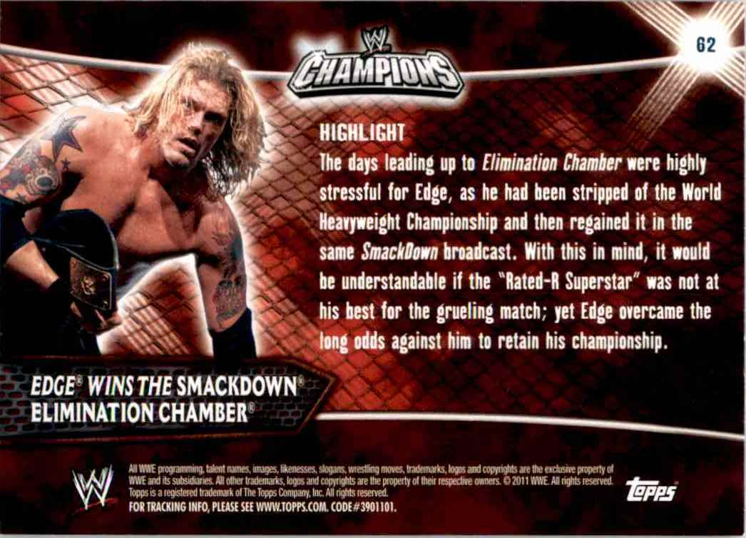 2011 Topps Wwe Champions Edge Wins The SmackDown Elimination Chamber #62 card back image