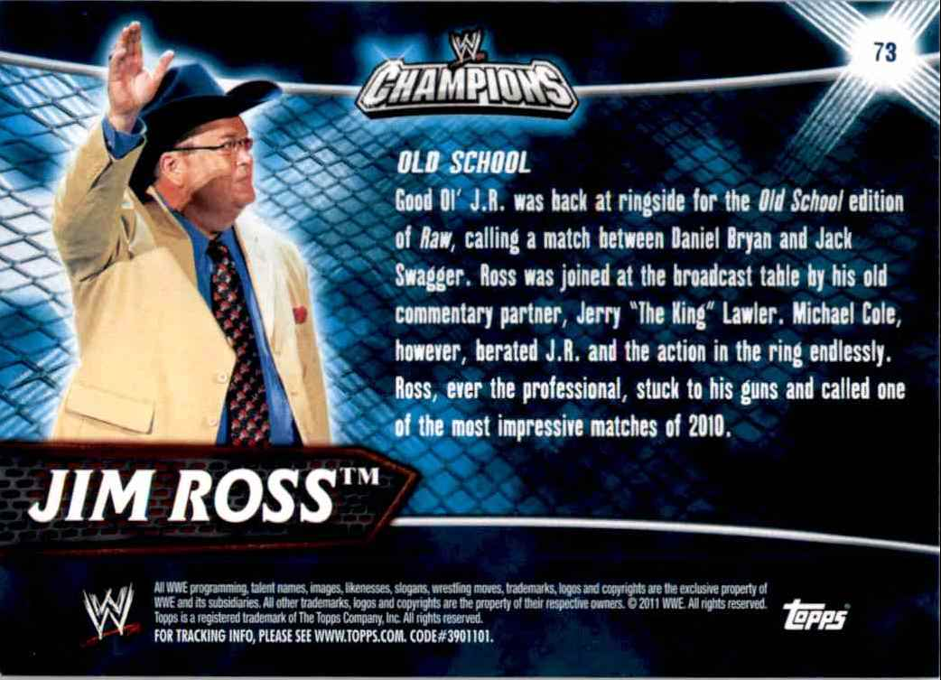 2011 Topps Wwe Champions Jim Ross #73 card back image