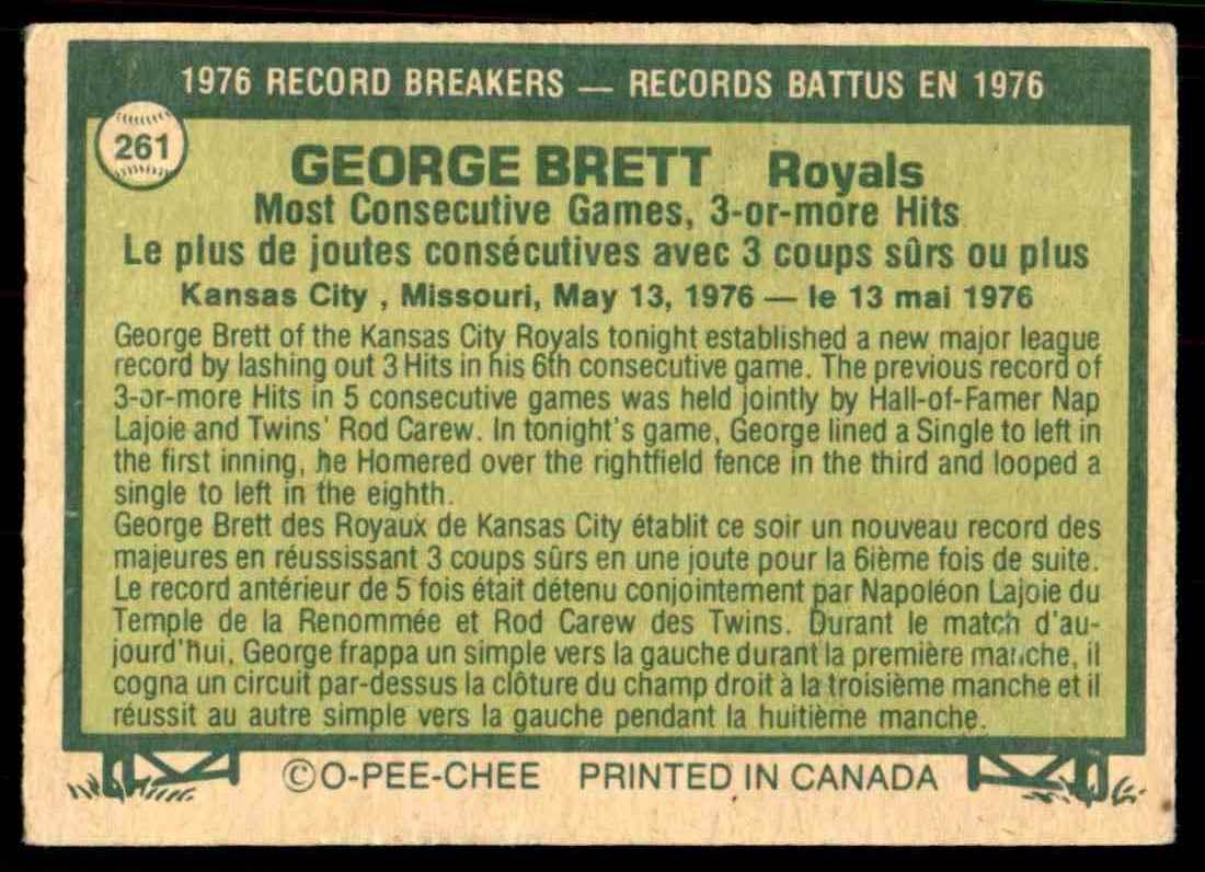 1977 O-Pee-Chee George Brett #261 card back image