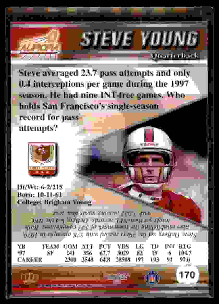 1998 Pacific Aurora Steve Young #170 card back image