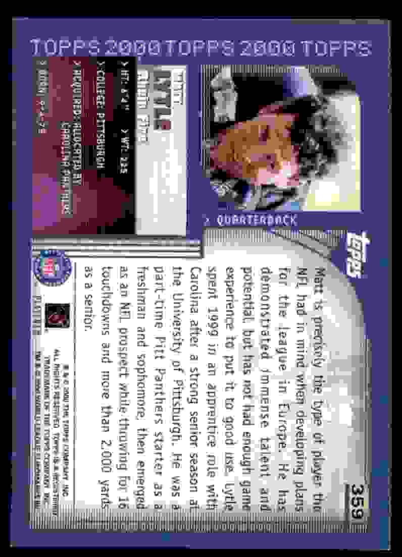 2000 Topps Matt Lytle #359 card back image