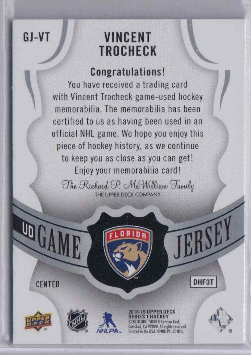 2018-19 Upper Deck Game Jerseys Vincent Trocheck #GJ-VT card back image