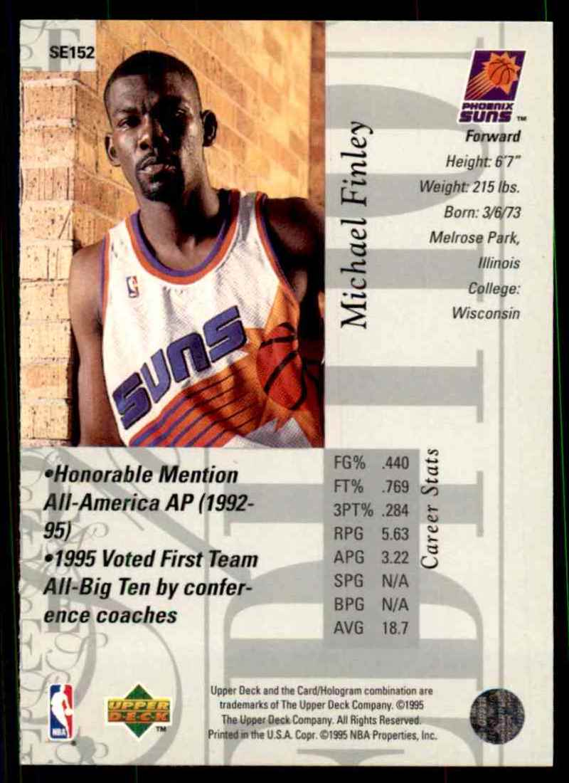 1995-96 Upper Deck Special Edition Michael Finley #152 card back image