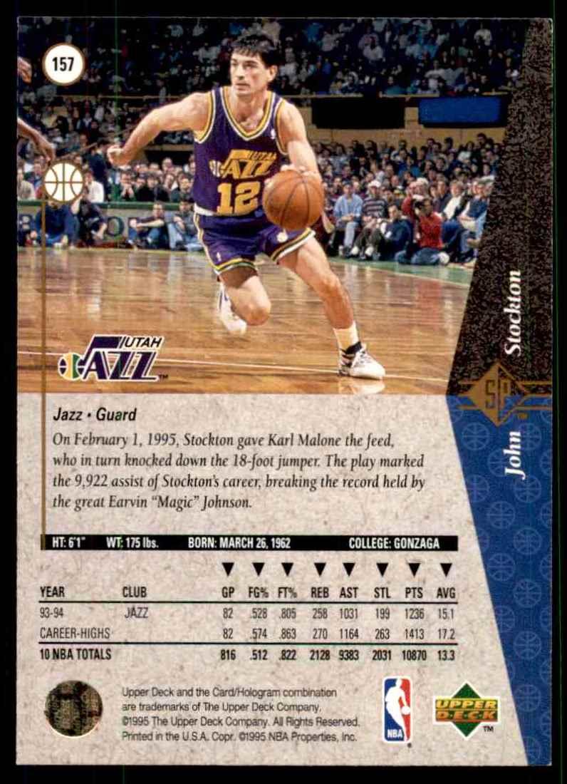 1994-95 SP John Stockton #157 card back image