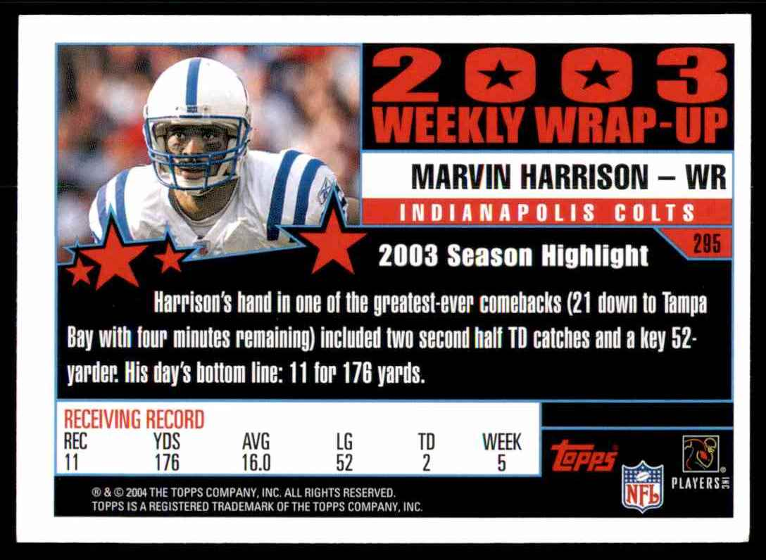 2004 Topps Marvin Harrison Ww #295 card back image