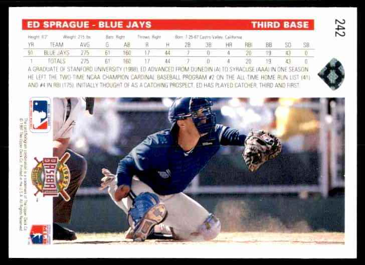 1992 Upper Deck Ed Sprague #242 card back image