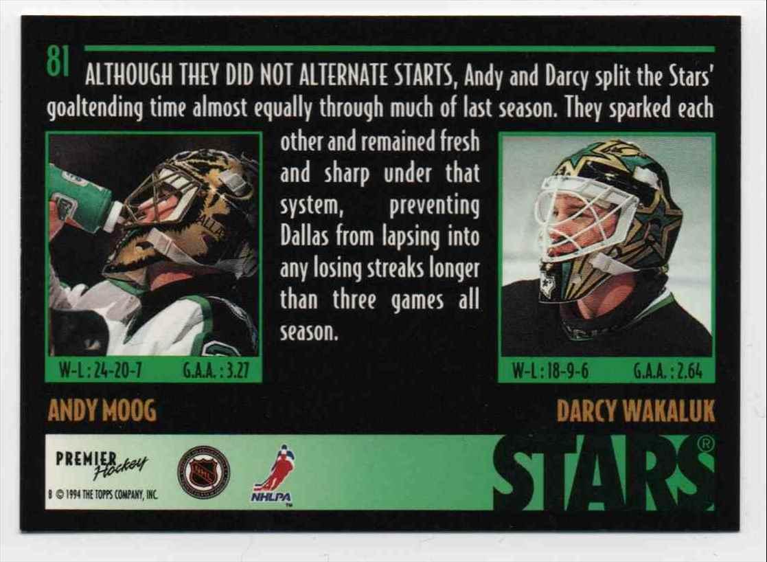 1994-95 Topps Premier Goaltending Duo Andy Moog, Darcy Wakaluk #81 card back image