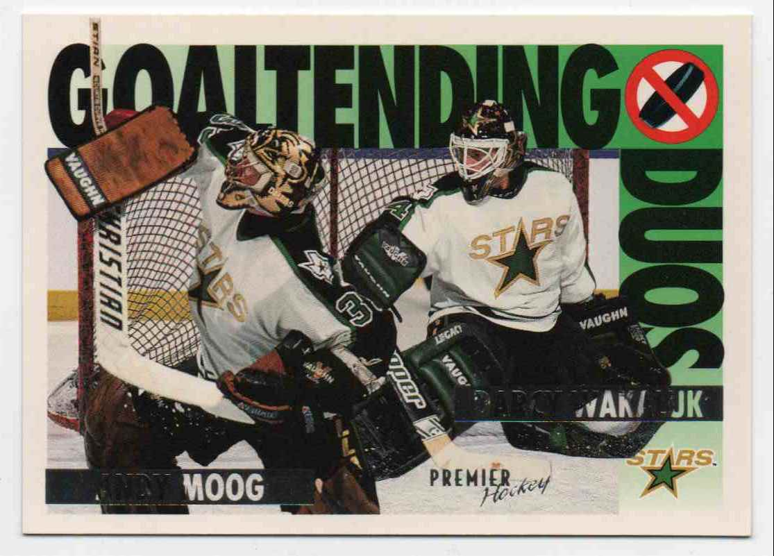 1994-95 Topps Premier Goaltending Duo Andy Moog, Darcy Wakaluk #81 card front image