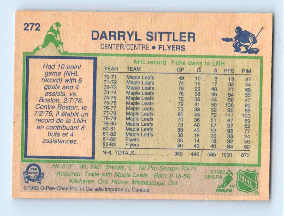 1983-84 O-Pee-Chee Darryl Sittler #272 card back image