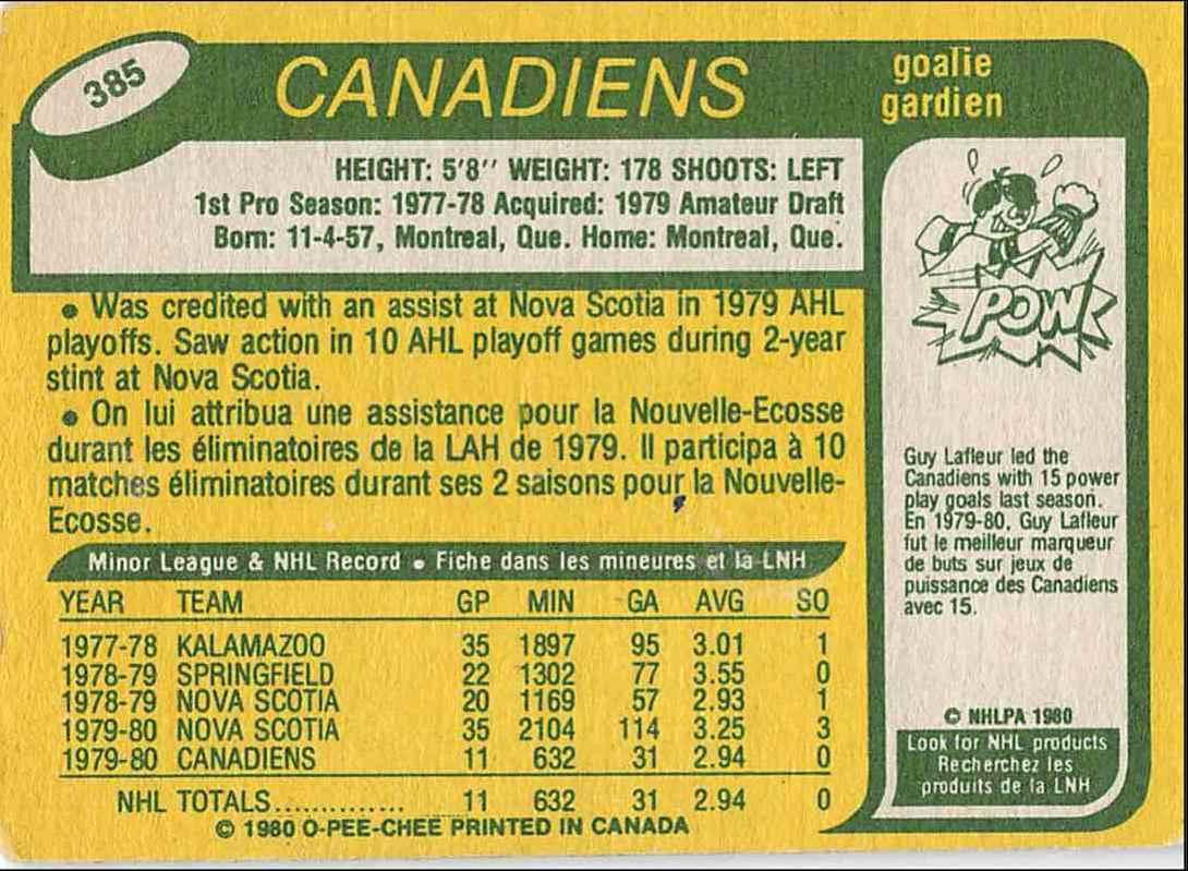 1980-81 O-Pee-Chee Richard Sevigny #385 card back image