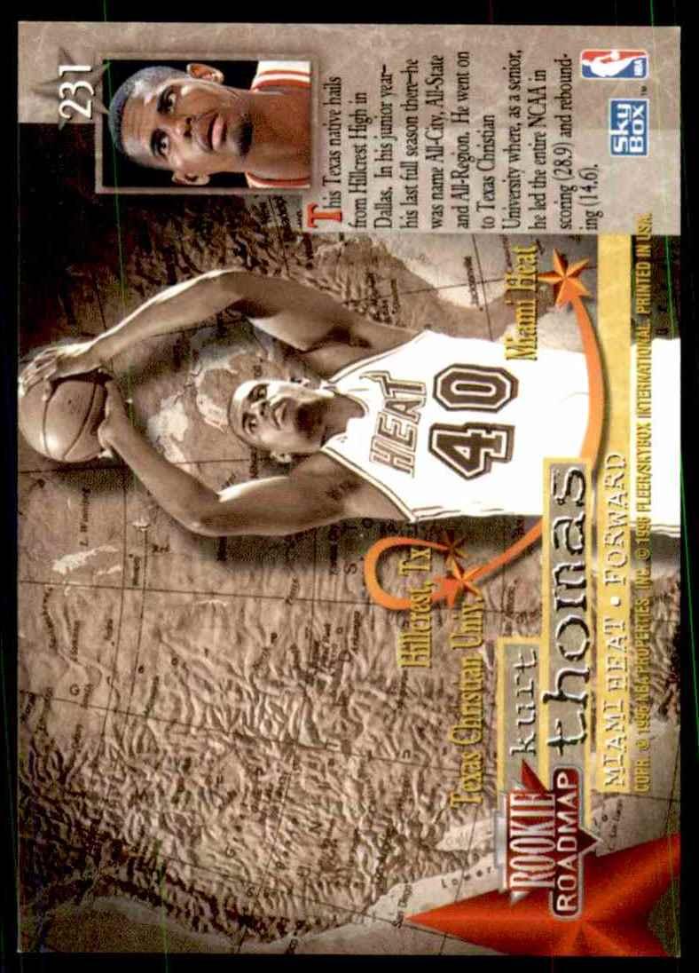1995-96 Skybox Premium Kurt Thomas RC #231 card back image