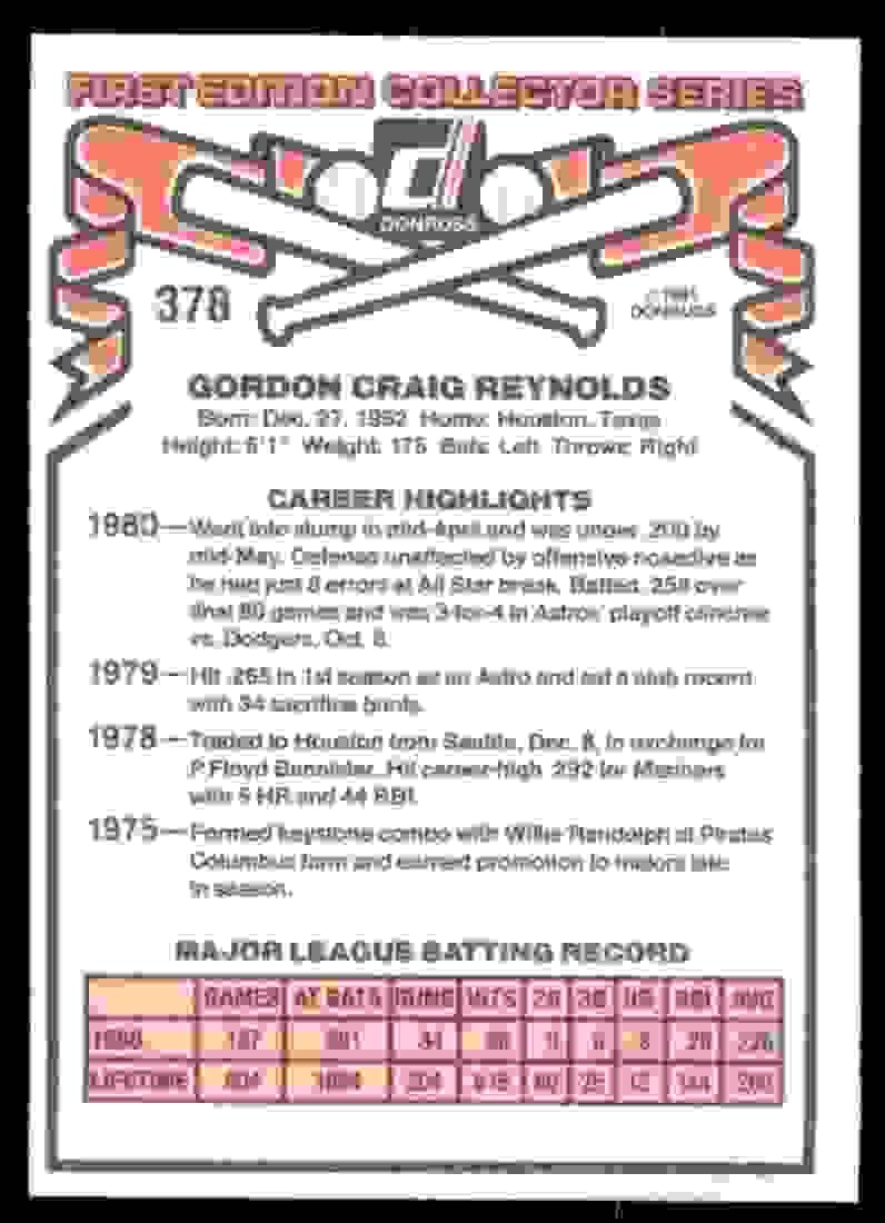 1981 Donruss Craig Reynolds #378 card back image