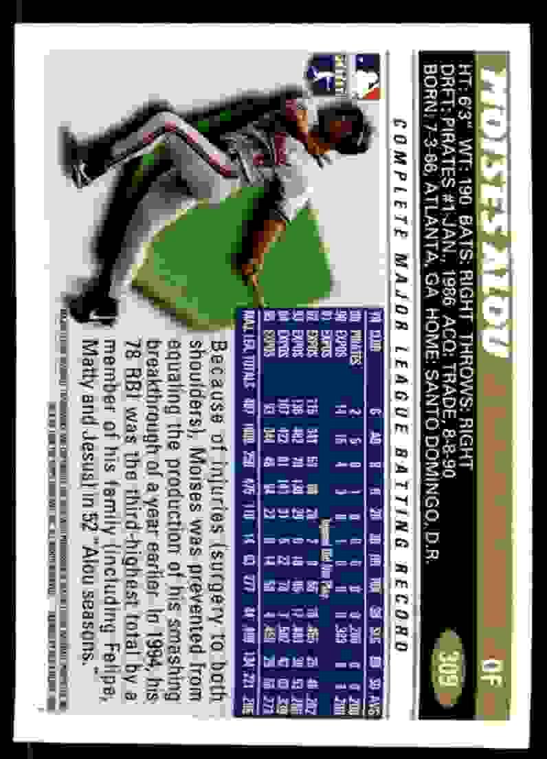 1996 Topps Moises Alou #309 card back image