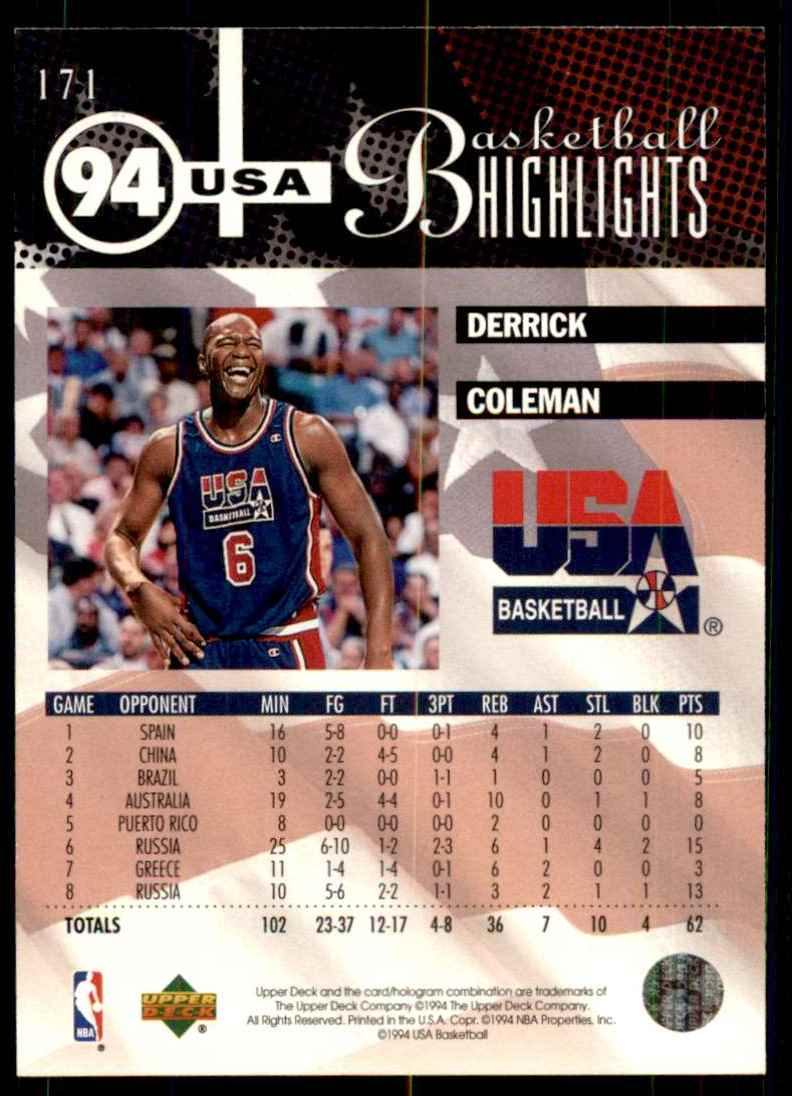 1994-95 Upper Deck Derrick Coleman USA #171 card back image