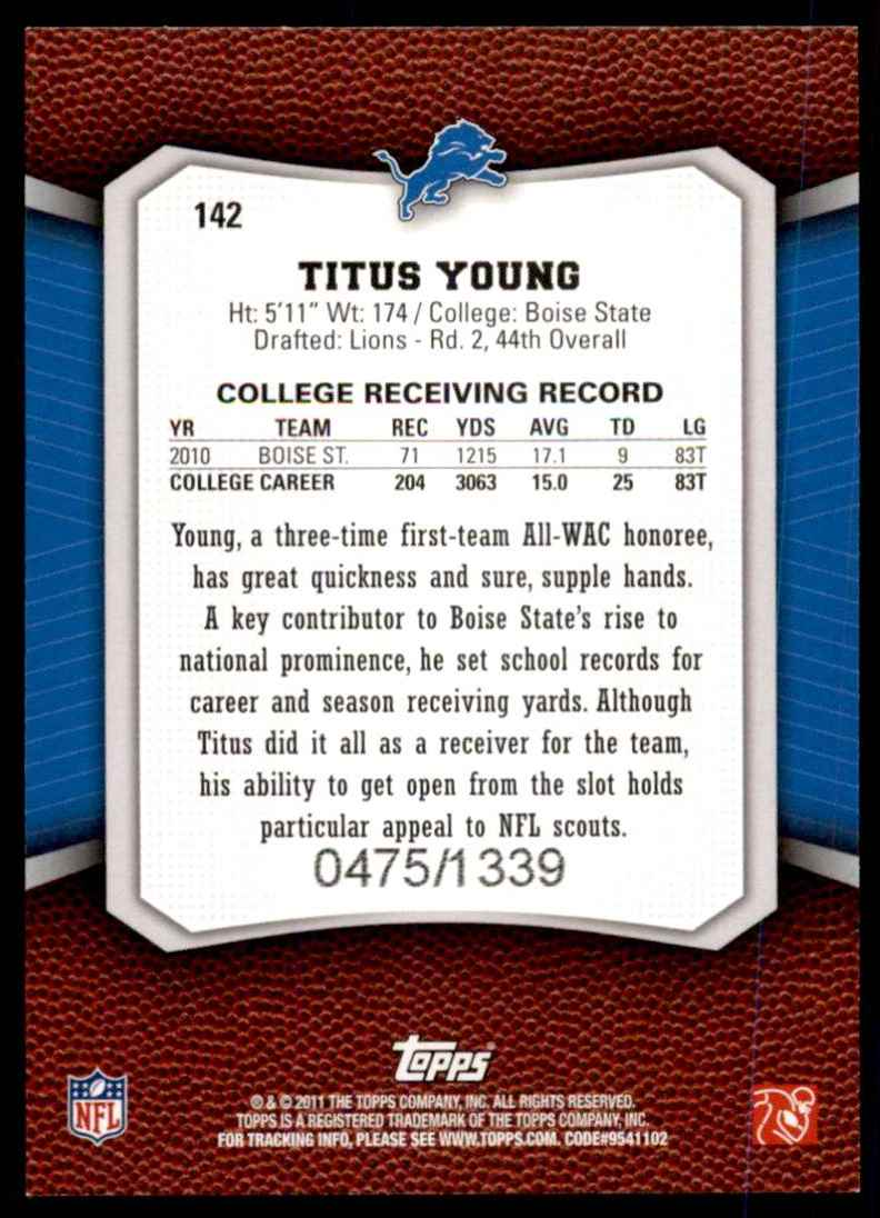 2011 Topps Rising Rookies Blue Titus Young #142 card back image