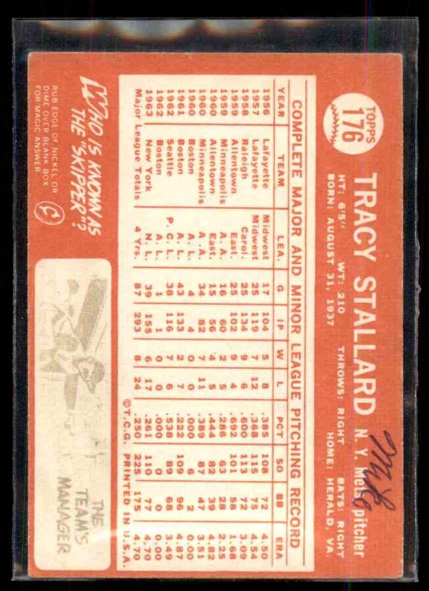 1964 Topps Tracy Stallard #176 card back image