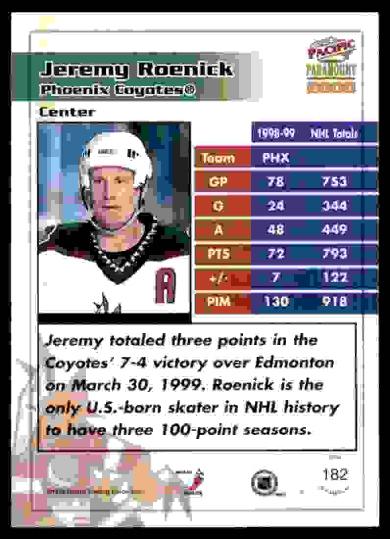 1999-00 Pacific Paramount Ice Blue Jeremy Roenick #182 card back image