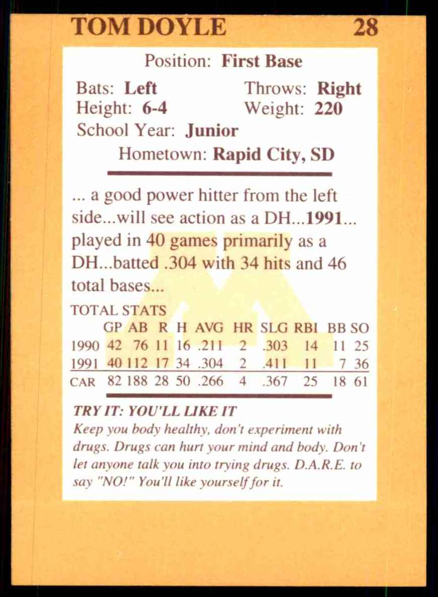 1992 Quaker Oats Minnesota Golden Gophers Tom Doyle #28 card back image