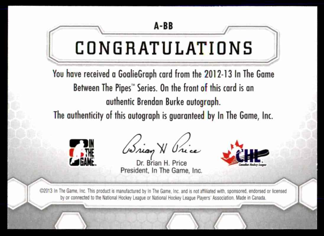 2012-13 In The Game Between The Pipes Goaliegraph Brendan Burke #A-BB card back image