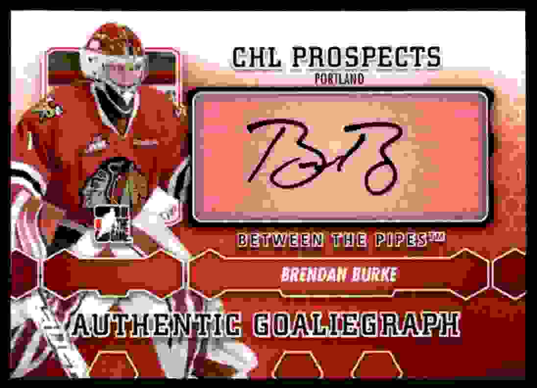 2012-13 In The Game Between The Pipes Goaliegraph Brendan Burke #A-BB card front image