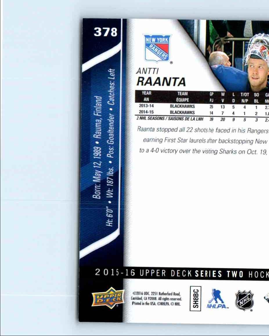 2015-16 Upper Deck Series 2 Antti Raanta #378 card back image