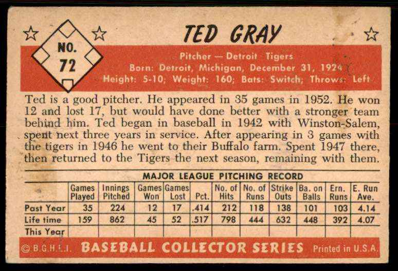 1953 Bowman Color EX-Mt Or Better Ted Gray #72 card back image
