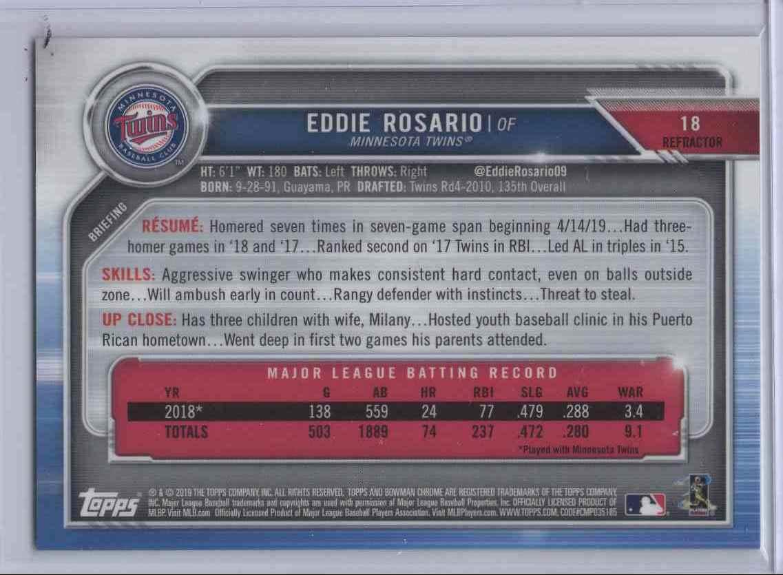2019 Bowman Chrome Refractor Eddie Eddie #18 card back image